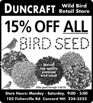 15% Off All Bird Seed