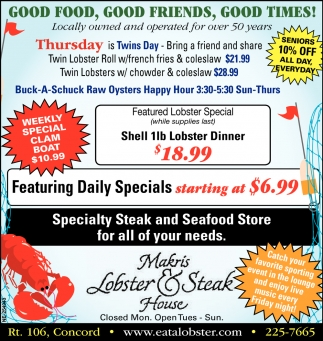 New Shell Lobster Dinner