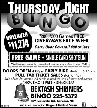 Thursday Night Bingo