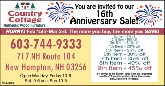 16th Anniversary Sale!