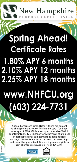 Spring Ahead Certificate Rates