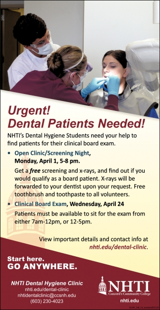 Urgent! Dental Patients Needed!