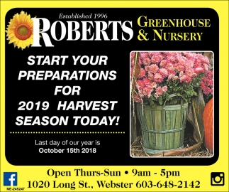 Ads For Roberts Greenhouse Nursery In Concord Nh