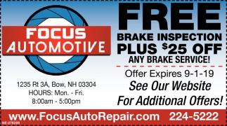 Free Brake Inspection Near Me >> Free Brake Inspection Focus Automotive