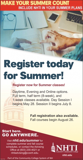 Register Today Fir Summer!