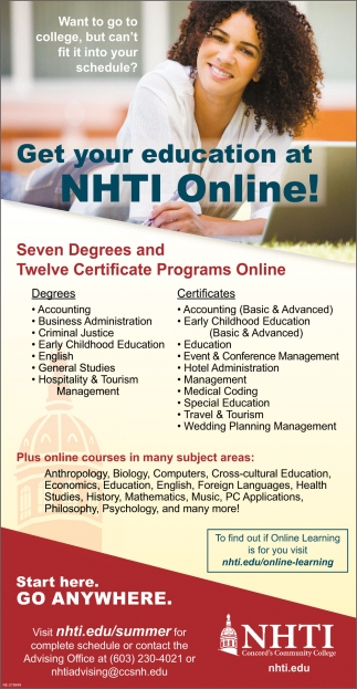 Get our Education At NHTI Online!