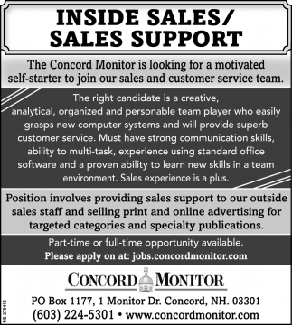 Inside Sales / Sales Support