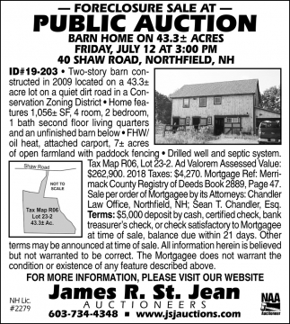 Foreclosure Sale At Public Auction