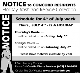 Notice To Concord Residents