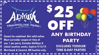 $25 Off Any Birthday Party