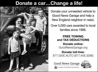 Donate A Car    Change A Life!, Good News Garage, Manchester, NH