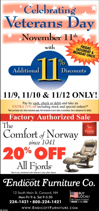 Veterans Day Endicott Furniture Co Concord Nh