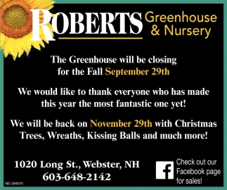 The Greenhouse Will Be Closing For The Fall