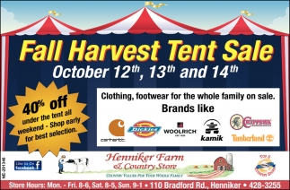 Fall Harvest Tent Sale
