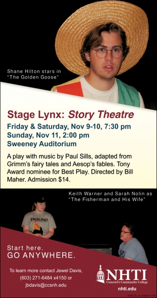 Stage Lynx: Story Theatre , NHTI Community College, Concord, NH