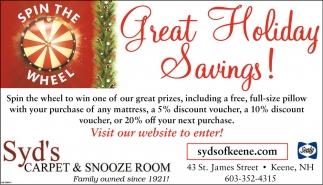 Great Holiday Savings!