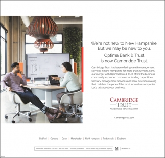 Optima Bank & Trust Is Now Cambridge Trust