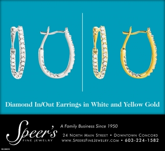 Diamond In/Out Earrings In White And Yellow Gold