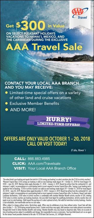 Hurry! Limited-Tie Offers!, AAA Travel