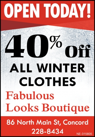 40% Off All Winter Clothes