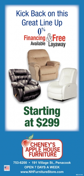 Kick Back On This Great Line Up 0% Financing & Free Available Layaway