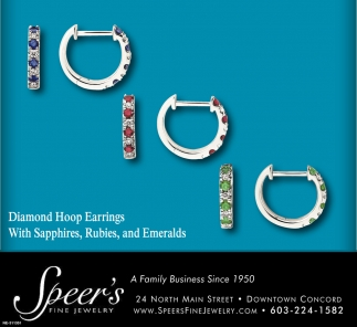 Diamond Hoop Earrings With Sapphires, Rubies And Emeralds