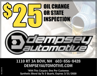 $25 Oil Change Or State Inspection