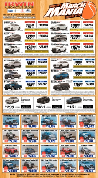 Irwin's March Mania Savings Event