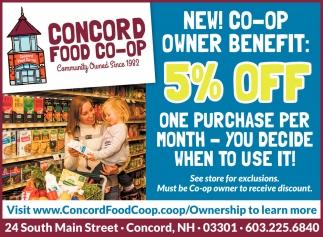 New! Co-op Owner Benefit