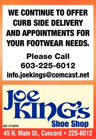 We Continue To Offer Curb Side Delivery And Appointments For Your Footwear Needs.