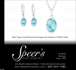 Blue Topaz And Diamond Earrings And Pendant In White Gold