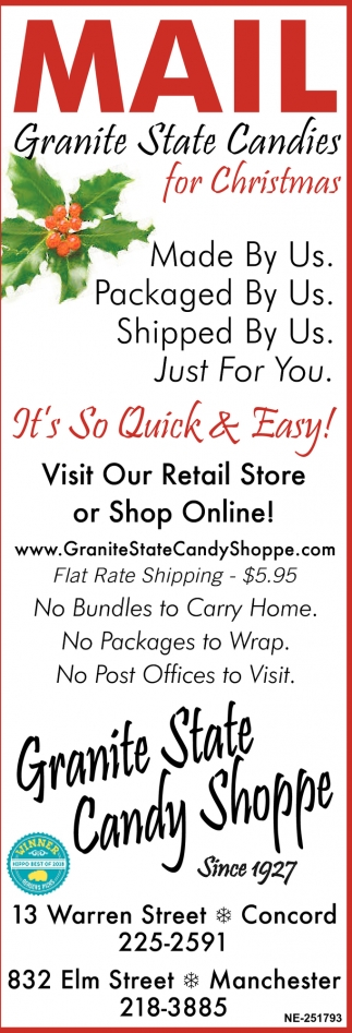 Mail Granite State Candies For Christmas